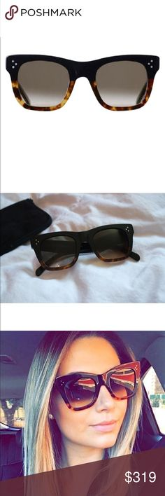 Celine Catherine Havana and black sunglasses NWOT Stunning trendy Brand new Celine Catherine Sunglasses.  Oversized cat eye frame in black/havana ombre.  Bloggers favorite.  Measures 50-23-145.  Comes with Celine case and cloth.  100% authentic. CL 41098/F/S FU5Z3 50 Celine Accessories Sunglasses
