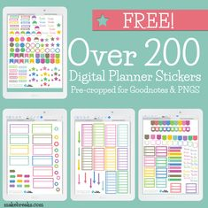 Free General Digital Stickers For Goodnotes & Digital Planners - Make Breaks Over 300 free digital planner stickers to set up your digital planner for Goodnotes or other PDF reader. Check out our other digital planner freebies! Planner Apps, Free Planner, Happy Planner, Planner Ideas, Menu Planners, Study Planner, Monthly Planner, Stickers For Planners, 2015 Planner