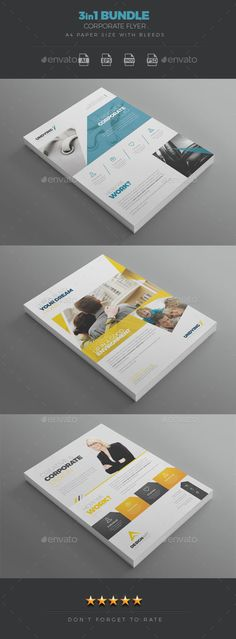 3 in 1 Corporate Flyer Template Bundle - Corporate Flyers - PSD, Vector EPS, InDesign INDD, AI Illustrator