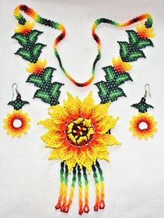 Native American Necklace Earrings Set by BiuluArtisanBoutique