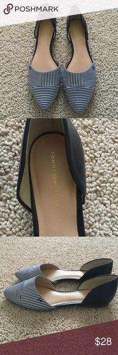 Tommy Hilfiger navy stripe flats.  Size 8 Worn once.  Excellent condition.  Perfect with skirts or cropped pants! Tommy Hilfiger Shoes Flats & Loafers