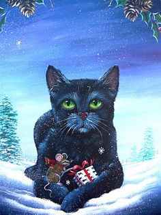 ARTISTIC HALLOWEEN QUEENS: ~OOAK Black Cat & Mouse Winter Christmas Painting on wood~