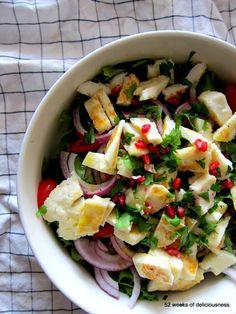 Halloumi pomegranate salad