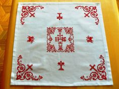Grimm, Hand Embroidery, Hearts, Goblin, Red Fabric, Cross Stitch Free, Basket, Crosses, Linen Fabric