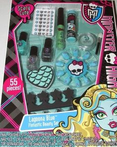 This Monster High Lagoona Blue Beauty Set would make a great Halloween gift for a Monster High fan.  Do your makeup just like Lagoona Blue.  Includes 55 pieces  3 Nail Polishes  1 Nail Decal Sheet  1 Nail File  1 Lip Gloss  1 Lip Balm  2 Toe Separators  1 Eye Shadow  1 Sponge Applicator  10 Fake Nails  New in Package