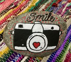 Painted Rock Camera Smile