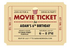 Drive-In Party Printable Movie Ticket Invite | Today's Parent - cute idea for birthday party or for any reason to have a backyard summer drive in!