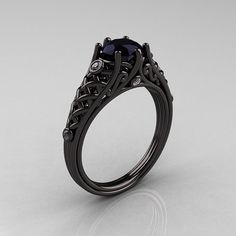 Luxurious, elegant and rich, the new Designer Exclusive Classic 14K Black Gold 1.0 Carat Black Diamond Lace Ring R175-14KBGDBD evokes absolute glamour