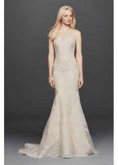 Oleg Cassini Sleeveless Lace Mermaid Wedding Dress CWG736. #somethinggoldweddings