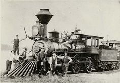 Missouri Pacific Railroad Locomotive in Hermann, Missouri. Photograph, 1877. Missouri History Museum Photographs and Prints Collections. Transportation. N21969