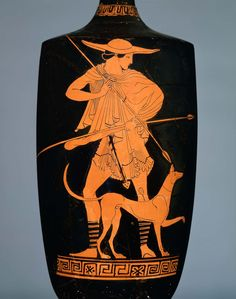 Oil flask (lekythos) with the hunter Kephalos and his dog Greek Early Classical Period about 470 B. Ancient Greek Art, Ancient Greece, Greek Paintings, Greek Mythology Art, Greece Art, Classical Period, Greek Pottery, Minoan, Historical Art