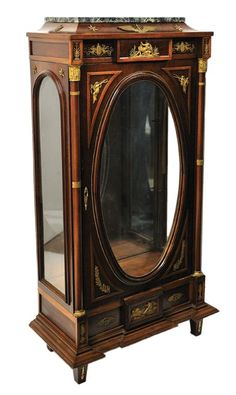 An empire style mahogany and marble vitrine with gilt bronze mounts, 19th Century: