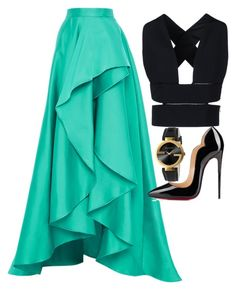 Black & Teal by carolineas on Polyvore featuring polyvore, fashion, style, STELLA McCARTNEY, Monique Lhuillier, Christian Louboutin and Gucci