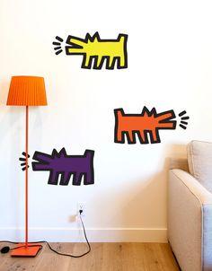 Keith Haring Dog Wall Sticker | Barking Dog Wall Art Sticker – Blik Keith Haring Prints, Keith Haring Art, Removable Wall Decals, Vinyl Wall Decals, Wall Stickers, Stick On Wall Tiles, Patterned Wall Tiles, Classroom Walls, Wall Patterns