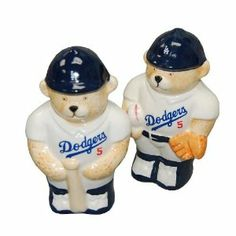 "Los Angeles Dodgers Salt & Pepper Shaker . $9.95. Ceramic Shakers. Features a bear wearing the LA Dodgers uniform. This is the Los Angeles Dodgers Ceramic Salt & Pepper Shaker Set.   Perfect item for yourself or that favorite Dodgers Fan on your shopping list.   Great to display, use on a daily basis.  approx 4 1/2"" tall x 2 1/2"" wide"