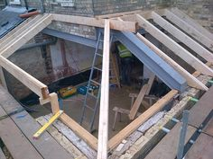 The wrap-around lean-to roof is being constructed House Extension Design, Glass Extension, Extension Designs, Extension Ideas, Wraparound Extension, Rear Extension, Extension Google, Kitchen Orangery, Conservatory Kitchen