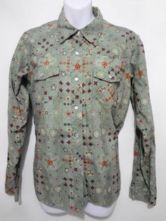 Patagonia Organic Cotton Green Print Snap-Front Long-Sleeve Shirt Womens L  #Patagonia #Western #Casual