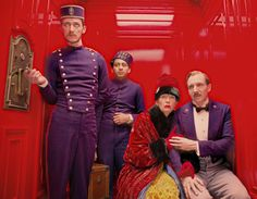 The Grand Budapest Hotel: Paul Schlase as Igor, Tony Revolori as Zero Moustafa, Tilda Swinton as Madame D. and Ralph Fiennes as M. Gustave