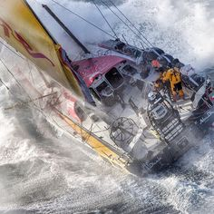 Leg 5, day 1. Abu Dhabi Ocean Racing hitting the waves in the wake of Cyclone Pam! Photo by Ainhoa Sanchez / Volvo Ocean Race #volvooceanrace #sailing #waves #storms