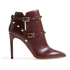 "Valentino 'Rockstud' Pointy Toe Calfskin Leather Bootie, 4 1/2"" heel (£935) ❤ liked on Polyvore featuring shoes, boots, ankle booties, ankle boots, pointed toe booties, valentino boots, ankle strap boots, strappy ankle boots and studded booties"