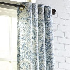 "Seasons Paisley Indigo 84"" Grommet Curtain Blue"