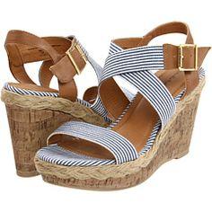 Blue and White Nautical Stripe Sandals - Gabriella Rocha