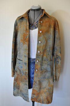 "Orange Medium Denim DRESS Jacket  - Hand Dyed Orange Gray Blue Vintage JouJou Denim Shirt Dress -  Size Medium (42"" chest)"