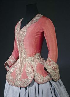 ca. 1730-1740 Called a casaquin in French, this type of close-fitting coat with long basques often appears in female portraits containing references to the hunt; however, its elaborate ornamentation suggests rather the festivities of the return from...