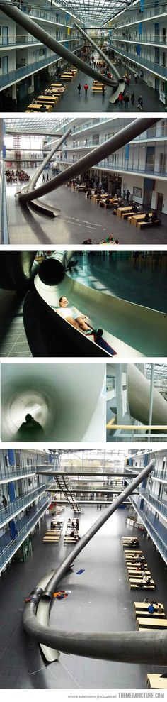 Students of Munich University use giant slides between floors… Epic fail, Mississippi State University. Epic.