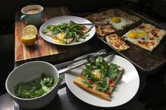 Bacon Egg & Arugula Pizza by shutterbean, via Flickr - used dough and technique in terms of putting on raw eggs at the beginning