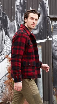 Layer up for fall with the Denim & Supply plaid wool-blend jacket