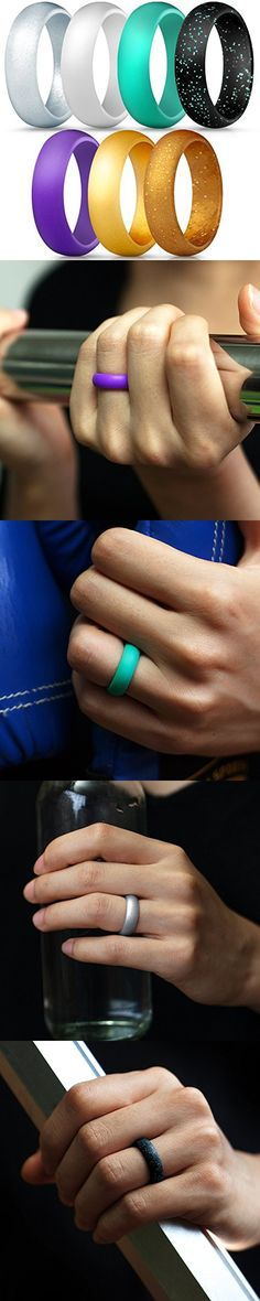 ThunderFit Silicone Wedding Ring for Men 17.3mm 1 Ring Black, 6.5-7