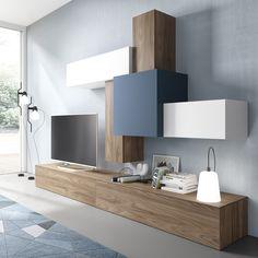 Composición modular actual madera y lacado