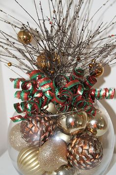 Items similar to Gold, Red, and Green Christmas Pinecone Centerpiece - Unique Holiday Decor on Etsy Disney Christmas Decorations, Silver Christmas Decorations, Christmas Centerpieces, Christmas Crafts, Christmas Wreaths, Christmas Ornaments, Holiday Decor, Gold Ornaments, Christmas Balls