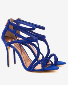 Suede wrap around gladiator sandals - Bright Blue | Shoes | Ted Baker