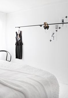 Bedroom, black and white, Scandinavian style, white