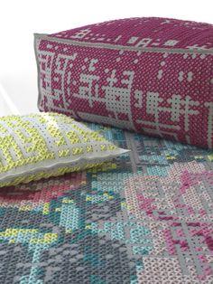 Cross stitch floor cushions