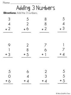 Adding 3 Numbers Worksheet Free Worksheets Library | Download and ...
