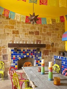 Eclectic Patio Design, Pictures, Remodel, Decor and Ideas - page 8 Mexican Dining Room, Mexican Patio, Mexican Kitchen Decor, Mexican Kitchens, Mexican Hacienda, Eclectic Kitchen, Fireplace Tile Surround, Cozy Fireplace, Fireplace Design
