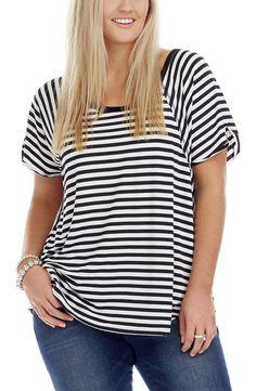 Raglan Sleeve Stripe Top | Plus Size Tops - Dream Diva