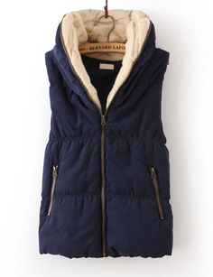 Navy Hooded Sleeveless Zipper Cotton Vest for US$33.11 at Sheinside. i completely adore this type of vests, it's nice color is calming for the eye and as a short haired person, i find the knit neck part especially nice, it makes scarves unnecessary, so i get to wear one layer less.