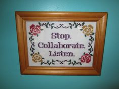 PATTERN Stop Collaborate Listen Vanilla Ice Ice Baby Framed Cross Stitch Art ~Like the Rose border!