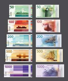 Norway's new bank notes by Snohetta (left column) and The Metric System (right column)