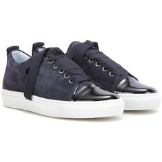 Lanvin Suede and patent leather sneakers (1,055 ILS) ❤ liked on Polyvore featuring shoes, sneakers, sko, lanvin, suede sneakers, suede trainers, patent shoes and lanvin sneakers
