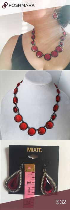 """Classy Red Matching Earrings & Necklace Red Dressy Necklace and earrings. NWT. Necklace is 18"""". Matching bracelet available desperate in my listings. jcpenney Jewelry Necklaces"""