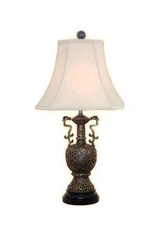 "Oriental Brass Bronze Dragon Vase Table Lamp Shade Finial 24.5"""