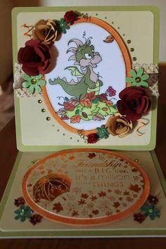 Handmade Card, Handmade Easel Card, Dragon Card, Hand coloured card, special friend card, autumn card,