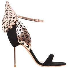 Sophia Webster Women 100mm Evangeline Wings Suede Sandals ($610) ❤ liked on Polyvore featuring shoes, sandals, heels, heeled sandals, rose shoes, metallic sandals, suede sandals and leather sole sandals