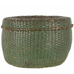 Lidded and Lined Splint Basket in Green Paint, Late 19th Century | From a unique collection of antique and modern bowls and baskets at https://www.1stdibs.com/furniture/decorative-objects/bowls-baskets/