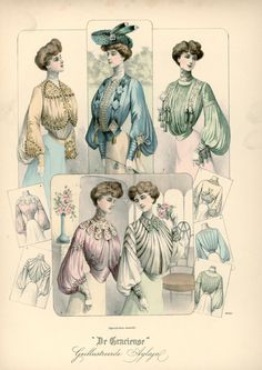 Shirtwaists- name for blouse, styles ranged from leg-of-mutton sleeves to styles covered with lace, embroidery, and frills.